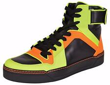 NEW Gucci Men's Neon Colorblock Leather Hi Top Sneakers Shoes 6 G 7 U.S