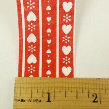 "Vtg WFR Craft Ribbon Trim Sweetheart Heart Scandinavian Christmas 1 3/8"" x 5 Y"