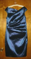 Teri Jon 18 blue metallic cocktail wedding formal evening sleeveless dress A4