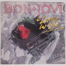 BON JOVI: Living in Sin USA 45 w/ PS Hard Rock Metal NM-