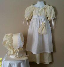 Civil war, victorian, prairie, 4 pc girls dress set. Yellow islet SIZE 7/8