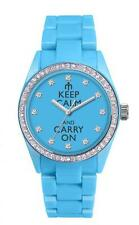 Orologio KEEP CALM and CARRY ON Latuamoda by PIERRE BONNET da donna AZZURRO