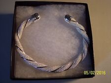 NEW WOMEN'S 9 MM BEADED WEAVE TWIST CUFF BRACELET IN WHITE AND SILVER TONES