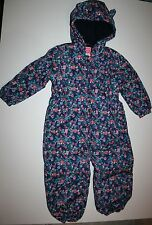 New NEXT UK Winter Snowsuit Tiny Floral Print on Navy Blue size 4 5 Year 110CM