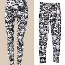 Trend Gothic Punk Style Party Sexy Skull Print Tights Pants Lady Thin Slim Pants