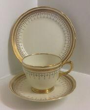 Lovely Vintage Grosvenor English Bone China Cream & Gold Gilt Tea Set Trio.