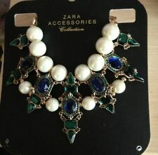 ZARA COLLIER PLASTRON CRISTAL ET GROSSES PERLES NECKLACE PEARL CRYSTAL STATEMENT