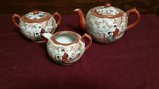 Unsigned Geisha Kutani Porcelain Tea Set Japan Tea Pot, Creamer & Sugar Bowl