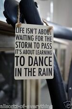 Mini métal signe de la vie est pour apprendre à danser dans la pluie Shabby & chic plaque