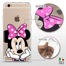 IPHONE 6S/6 COVER PROTETTIVA GEL TRASPARENTE GLITTER DISNEY MINNIE MOUSE FLUO