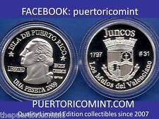 Silver PESETA JUNCOS  2009 Puerto Rico Boricua Quarter 1/100 Plata