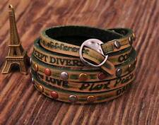 HUMANITY 5 Wraps Distressed Genuine Leather Bracelet INSPIRING PHRASES Green