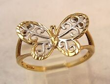 10K White Yellow gold Butterfly Filigree Vintage Ring 1.1gr Size 5.25 Gorgeous!