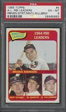 PSA 6 - 1965 Topps #  5 Mickey Mantle/Robinson/Killebrew RBI Leaders Yankees HOF