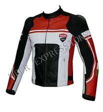 Men Black Red Motorbike Racing Leather Jacket in All Sizes for Ducati lovers