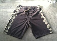 Crazy Shirts 34 Board Shorts Swim Shorts Hawaiian Surf Flower Free Ship Brown