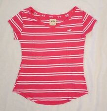 NWT Hollister Women T-Shirt Top Tee Size Small Pink Stripes Short Sleeve Shirt