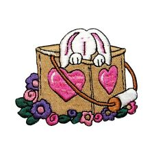 ID 3333 Bunny Rabbit Easter Basket Holiday Embroidered Iron On Applique Patch