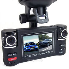 "2.7""HD Dual Lens Car Camera Vehicle DVR Dash Cam GSensor 180°video Recorder"