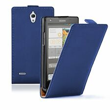 BLUE Leather Flip Case Cover Pouch Saver For Huawei Ascend G700 (+2 FILMS)