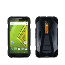 For Motorola Moto X Play Black Shield Hybrid Stand Case Cover
