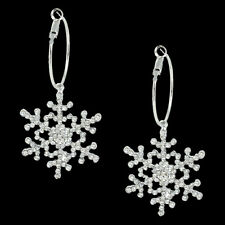 Snowflake Flower Hoop Dangle Earring Clear Austrian Crystal Christmas -E811