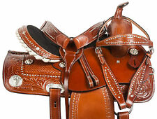 "14"" 15"" 16"" WESTERN BARREL CRYSTAL BLING TRAIL LEATHER HORSE SADDLE TACK SET"