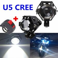 2x Black U5 Motorcycle LED Headlight Driving Fog Spot Light Lamp & Switch 3000LM