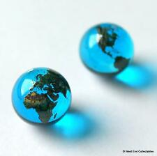 "2 x 12mm (0.5"") Blue Earth Globe Glass Marbles - Earring Jewellery Making Stones"