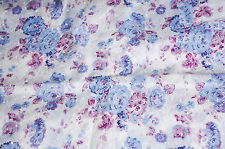 Embroidered Eyelet  Floral  Cotton Voile Fabric Flowers Blues   Bfab