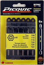 "Genuine Picquic 6-Bit Set, 3"" Torx Security: T8 - T27. 1/4"" Hex Shaft"