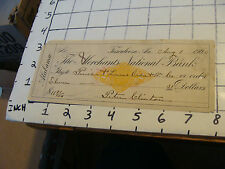 1900 cancelled check MERCHANTS NATIONAL BANK, TUSCALOOSA, ALABAMA, Peter Clinton