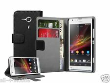 Black Wallet Leather Case cover for Sony Xperia SP experia +2 SCREEN PROTECTOR