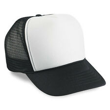 Wholesale Lot 1 Dozen / 12 Blank Foam Mesh Trucker Hats White/Black