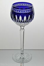 Waterford Cobalt Blue Cut to Clear Crystal Clarendon Wine Hock Goblet New