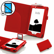 Funda de cuero rojo con luz LED Amazon Kindle 2016 Pantalla Prot Y Stylus