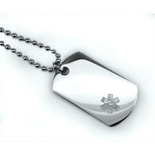 Mini Medical Alert ID Dog Tag and Necklaces. Free Wallet Card! Free engraving!