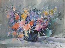 """Original-Aquarell von JAN SOKEW """"Blumenstrauß in Kugelvase"""","""