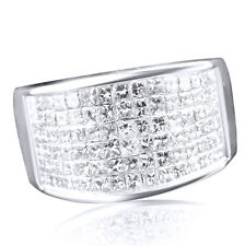 2.1 Ct D/VVS1 Princess Cut 14K White Gold 13mm Wedding Band Channel Mens Ring