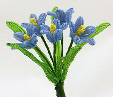 Vintage French Glass Beaded Blue Buttercups (5) Flower Bouquet