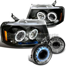 2006-2008 Ford F150 Projector Headlights Black+Clear Halo Fog Lamp