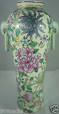 "ANTIQUE ? CHINESE VASE 14""  TALL PINK/PURPLE LOTUS FLOWER HAND PAINTED HANDLED"