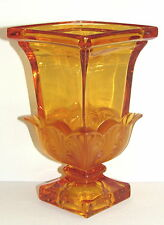 ART DECO FROSTED ACANTHUS Bohemian Style AMBER  CRYSTAL VASE Czech Moser Quality