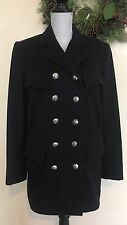 VTG RALPH LAUREN PURPLE LABEL WOMENS BLACK WOOL DOUBLE BREASTED PEA COAT SZ 8