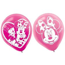 6 Disney Minnie Mouse Bowtique Party Pink Printed Latex Balloons