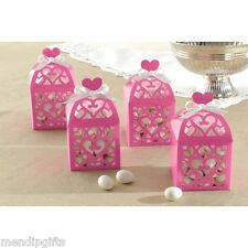 10 HOT PINK LANTERN FAVOUR BOXES HEN PARTY WEDDING CHRISTENING TABLE FAVOURS