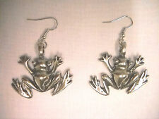 NEW XL TROPICAL TREE FROG PEWTER FULL PENDANT SIZE PAIR OF EARRINGS NATURE LOVER