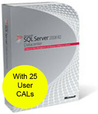 SQL Server 2008 R2 Datacenter, 64/32 Bit. With 25 CALs. New and Shrink Wrapped.