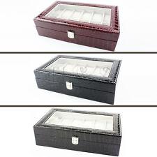 Calidad superior de cuero de imitación cocodrilo reloj 12 Joyas Caja de almacenamiento caso de exhibición