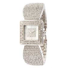 Alias Kim Full Silver Crystal Square Case Face Women Bracelet Bangle Wrist Watch